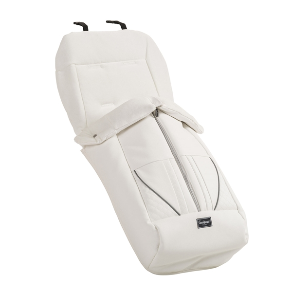 Kørepose de Luxe 40925 Footmuff de Luxe White Leath.